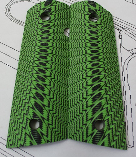 769001 Genuine Larry Davidson Starburst Toxic Green / Black G-10 Grips